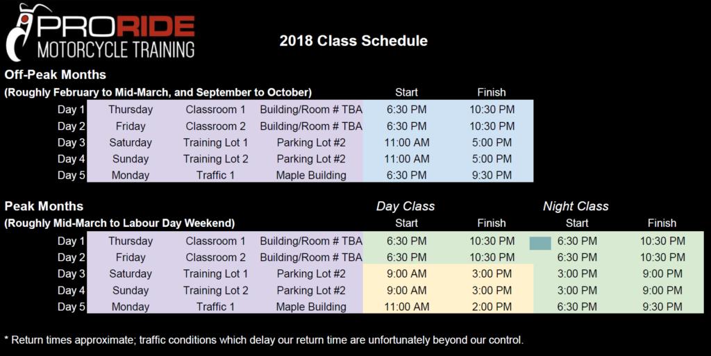 ProRide Class Schedule