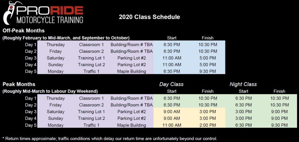 ProRIDE 2020 Class Schedule