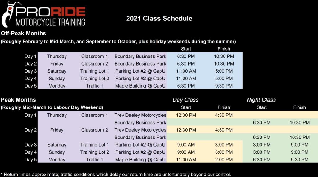 ProRIDE 2021 Class Schedule